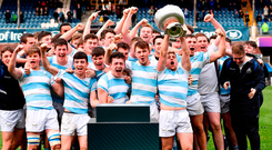 Blackrock College captain Liam Turner lifts the cup with his teamates. Photo: Ramsey Cardy/Sportsfile