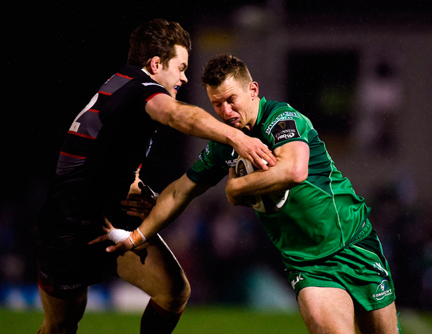 Connacht's Matt Healy is tackled by Chris Dean of Edinburgh. Photo: Diarmuid Greene/Sportsfile