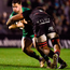 Connacht 's Caolin Blade is tackled by Viliame Mata of Edinburgh during the match at the Sportsground in Galway. Photo: Diarmuid Greene/Sportsfile