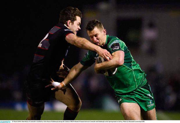 Matt Healy of Connacht is tackled by Chris Dean of Edinburgh during the Guinness PRO14 Round 18 match between Connacht and Edinburgh at the Sportsground in Galway. Photo by Diarmuid Greene/Sportsfile