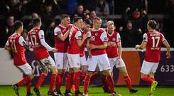 Ian Bermingham of St Patrick's Athletic, centre, celebrates with team-mates