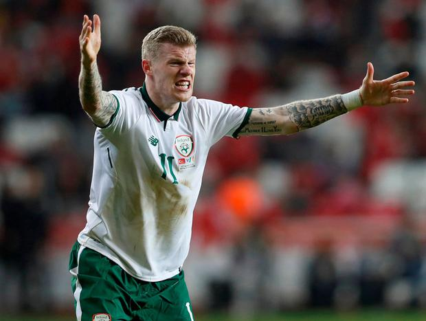James McClean appeals to the referee during last night's game. Photo: Murad Sezer/Reuters