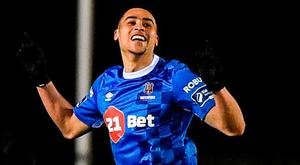Courtney Duffus celebrates after scoring Waterford's second goal at the RSC. Photo: Seb Daly/Sportsfile