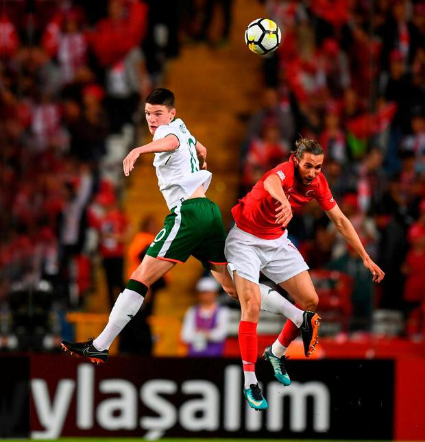 Declan Rice rises to the occasion as he challenges Turkey's Yusuf Yazici during last night's friendly at Antalya Stadium in Turkey. Photo: Stephen McCarthy/Sportsfile