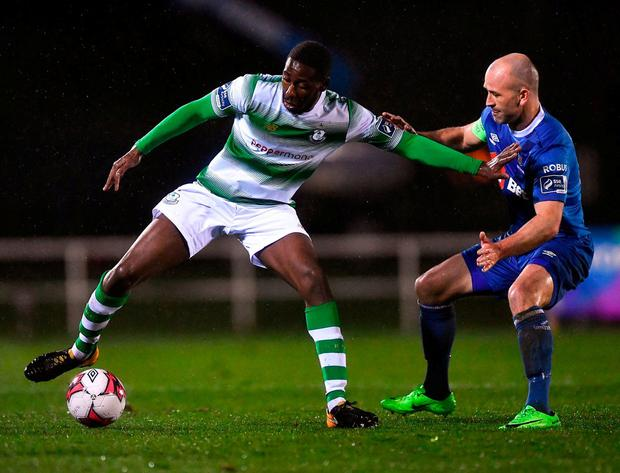 Dan Carr of Shamrock Rovers in action against Paul Keegan of Waterford. Photo: Seb Daly/Sportsfile