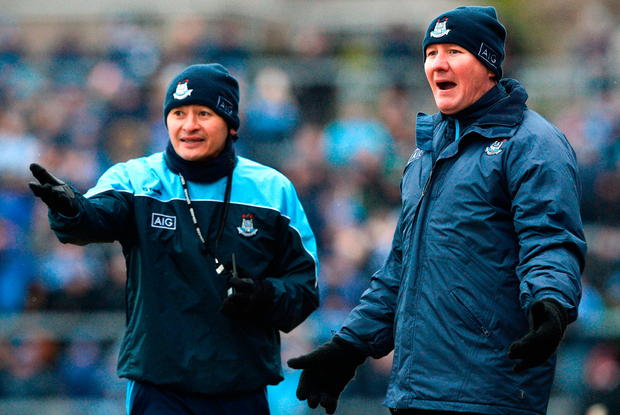 FEISTY AFFAIR: Dublin manager Jim Gavin (r) and selector Jason Sherlock in Galway last week. Photo: Ray Ryan/Sportsfile