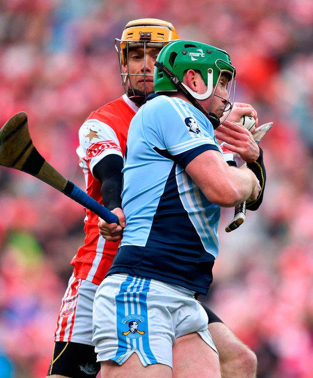 TIGHT: Shane Dowling of Na Piarsaigh is stopped in his tracks by uala's Paul Schutte during last week's drawn All-Ireland Senior Club Championship Final at Croke Park. Photo: David Fitzgerald/Sportsfile
