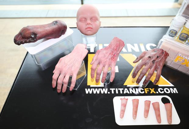 A general view of the prosthetic limbs by Titanic FX seen by Prince Harry and Meghan Markle during a visit to Catalyst Inc science park in Belfast where they met some of Northern Ireland's brightest young entrepreneurs. PRESS ASSOCIATION Photo. Picture date: Friday March 23, 2018. See PA story ROYAL Harry. Photo credit should read: Niall Carson/PA Wire