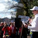 Jack Crozier, who lost his sister in the Dunblane shooting, speaks during the Edinburgh March For Our Lives anti-gun rally outside the US Consulate in Edinburgh. Pic: Jane Barlow/PA Wire