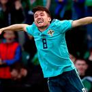 Northern Ireland's Paul Smyth celebrates scoring his side's winner