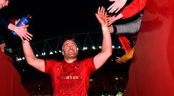 Billy Holland of Munster is greeted by supporters after the Guinness PRO14 Round 18 match between Munster and Scarlets at Thomond Park in Limerick. Photo by Diarmuid Greene/Sportsfile