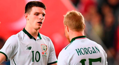 Declan Rice (10) and Daryl Horgan salute one another after the Republic of Ireland's friendly defeat by Turkey in Antalya on Friday evening. Photo: Stephen McCarthy/Sportsfile