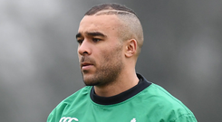 Simon Zebo during squad training in 2017. Photo: Sportsfile