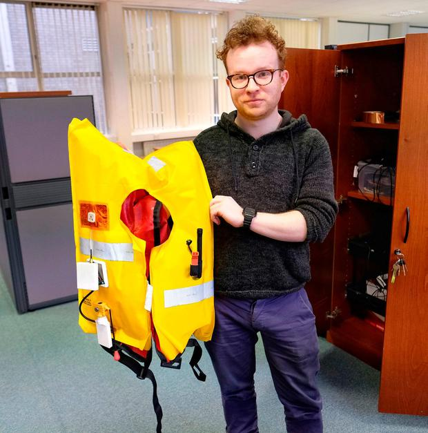 Killian Dolan with his satellite-based life jacket