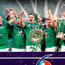 The Ireland team celebrate with their trophy after winning the grand slam during the NatWest 6 Nations match at Twickenham Stadium, London. Photo: Gareth Fuller/PA
