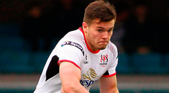 Jacob Stockdale of Ulster during the Guinness PRO14 Round 18 match between Cardiff Blues and Ulster at Cardiff Arms Park in Cardiff, Wales. Photo by Darren Griffiths/Sportsfile