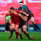 24 March 2018; Ian Keatley of Munster is tackled by Tadhg Beirne and Aaron Shingler of Scarlets during the Guinness PRO14 Round 18 match between Munster and Scarlets at Thomond Park in Limerick. Photo by Diarmuid Greene/Sportsfile