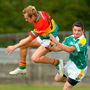 Carlow's Trevor Smith is challenged by Donal Brennan of Leitrim during the 2006 Tommy Murphy Cup semi-final. The 'second-tier championship' was abolished after just five seasons. Photo: Sportsfile