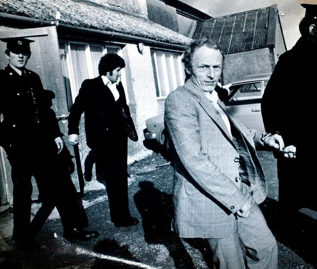 MURDERERS: Geoffrey Evans, pictured, and John Shaw are taken to a court hearing after their arrest in 1976. The two Englishmen were given mandatory life sentences in 1978. Photo: Courtpix