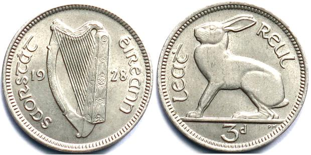 The Irish hare on an old threepenny piece