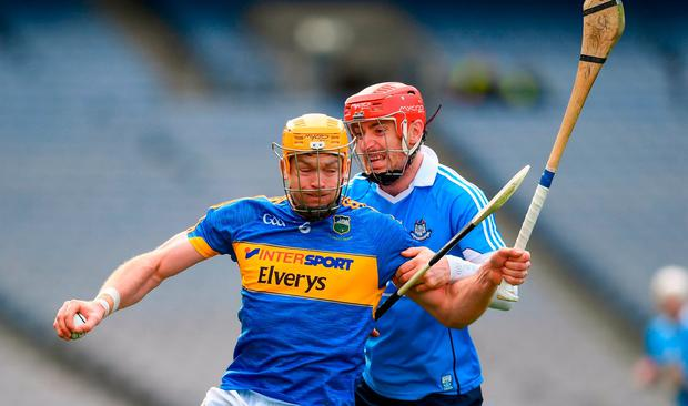 Padraic Maher of Tipperary in action against Ryan O'Dwyer of Dublin during the Allianz Hurling League Division 1 Quarter-Final match between Dublin and Tipperary at Croke Park in Dublin. Photo by Stephen McCarthy/Sportsfile