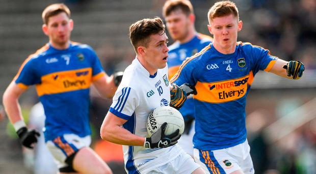Dara McVeety of Cavan in action against John Meagher of Tipperary during the Allianz Football League Division 2 Round 7 match between Cavan and Tipperary at Kingspan Breffni in Cavan. Photo by Piaras Ó Mídheach/Sportsfile