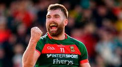 Aidan O'Shea of Mayo celebrates after the final whistle the Allianz Football League Division 1 Round 7 match between Donegal and Mayo at MacCumhaill Park in Ballybofey, Donegal. Photo by Oliver McVeigh/Sportsfile