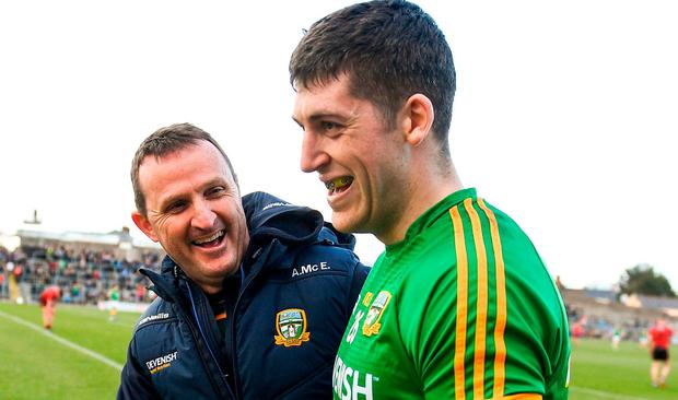 Meath manager Andy McEntee and Paddy Kennelly following the Allianz Football League Division 2 Round 7 match between Meath and Down at Páirc Tailteann in Navan, Co Meath. Photo by Ramsey Cardy/Sportsfile
