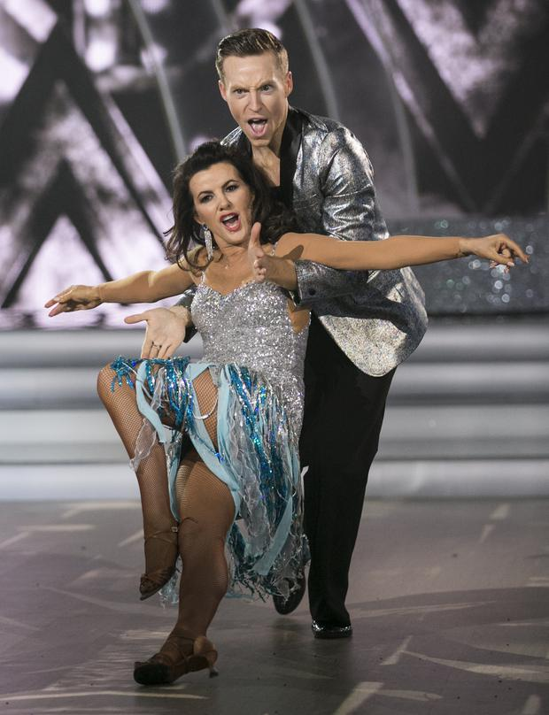 Comedienne Deirdre O'Kane and John Edward Nolan,during the Final of RTE's Dancing with the Stars. Pic: kobpix