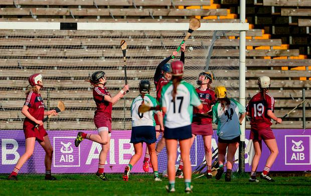 Slaughtneil players block a goal bound shot in the closing minutes during the AIB All-Ireland Senior Club Camogie Final match between Sarsfields and Slaughtneil at St Tiernach's Park in Clones, Monaghan. Photo: Oliver McVeigh/Sportsfile