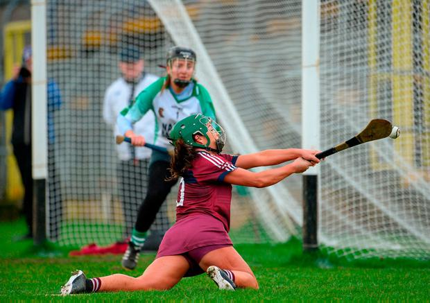 Shannon Graham of Slaughtneil takes a shot on goal. Photo: Oliver McVeigh/Sportsfile
