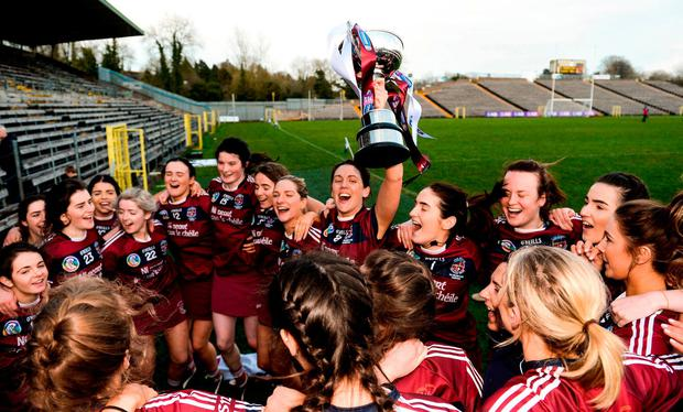 Slaughtneil celebrate with the cup. Photo: Oliver McVeigh/Sportsfile