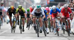 Peter Sagan of Bora-Hansgrohe sprints to victory at the finish line of the Gent-Wevelgem. Photo: Dirk Waem/AFP/Getty