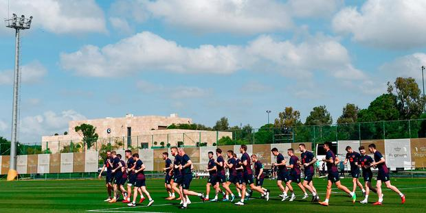 Ireland's players going through their paces during last week's training camp. Photo: Stephen McCarthy/Sportsfile
