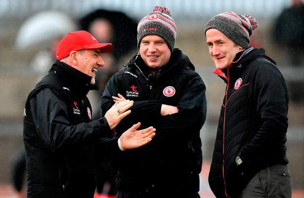 Mickey Harte enjoying yesterday's win with his assistant Gavin Devlin and selector Stephen O'Neill. Photo: Brendan Moran/Sportsfile