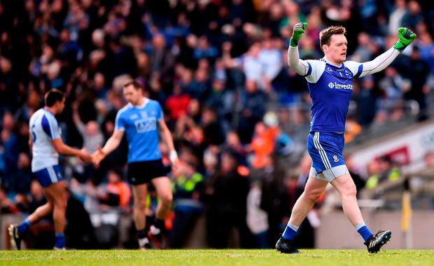 Monaghan goalie Rory Beggan celebrates his side's victory at Croke Park in Dublin. Photo: Stephen McCarthy/Sportsfile