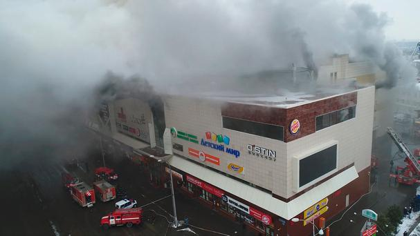 Still photo taken from video provided by Russian Emergencies Ministry shows a site of a fire at a shopping mall in Kemerovo, Russia March 25, 2018. Russian Emergencies Ministry/Handout via REUTERS