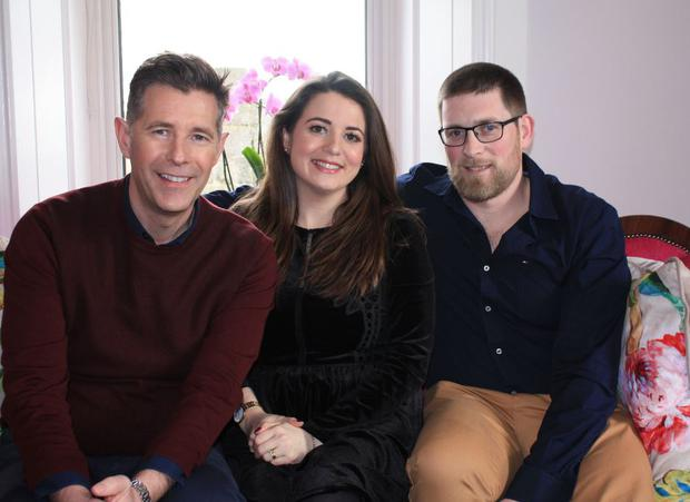 Architect Dermot Bannon with clients Katie and Padraig on Room to Improve, RTE One