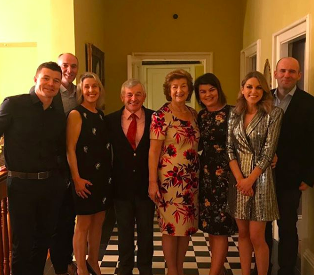 Amy Huberman in a Zara dress with her in-laws
