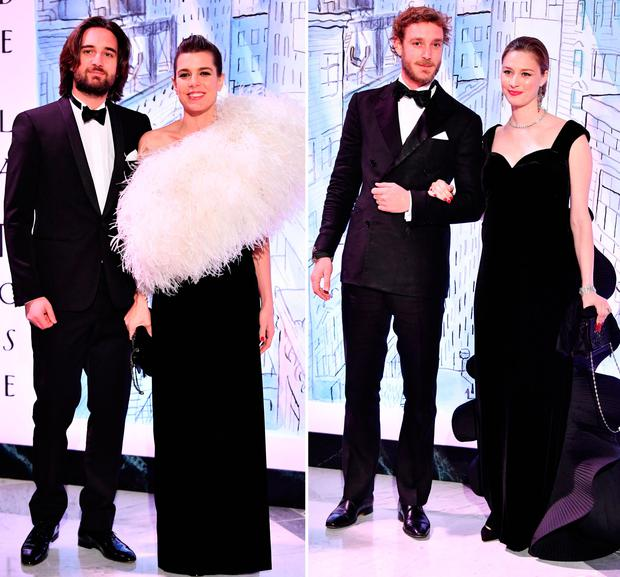 Dimitri Rassam and Charlotte Casiraghi, left, and Pierre Casiraghi and Beatrice Casirahi, right
