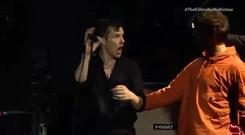The moment Liam Gallagher arrived on stage. PIC: YouTube
