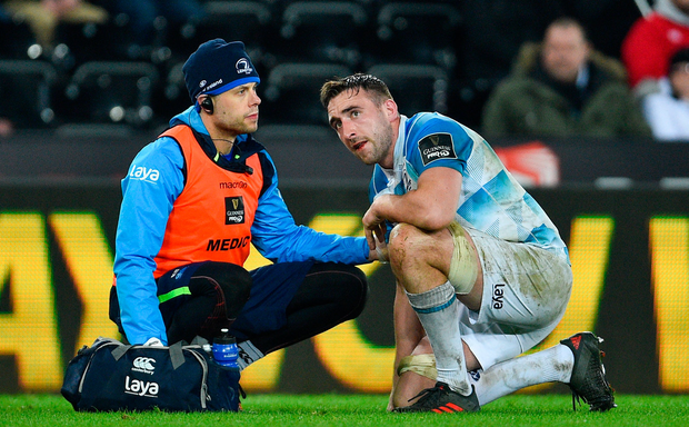 24 March 2018; Jack Conan of Leinster is treated for an injury by Leinster senior physiotherapist Karl Denvir during the Guinness PRO14 Round 18 match between Ospreys and Leinster at the Liberty Stadium in Swansea, Wales. Photo by Ramsey Cardy/Sportsfile
