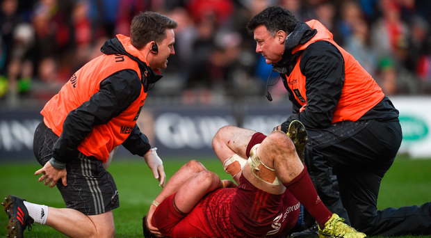 24 March 2018; Tommy O'Donnell of Munster receives medical attention before leaving the pitch during the Guinness PRO14 Round 18 match between Munster and Scarlets at Thomond Park in Limerick. Photo by Diarmuid Greene/Sportsfile