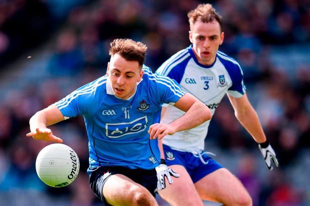 Cormac Costello of Dublin in action against Conor Boyle of Monaghan during the Allianz Football League Division 1 Round 7 match between Dublin and Monaghan at Croke Park in Dublin. Photo by Stephen McCarthy/Sportsfile