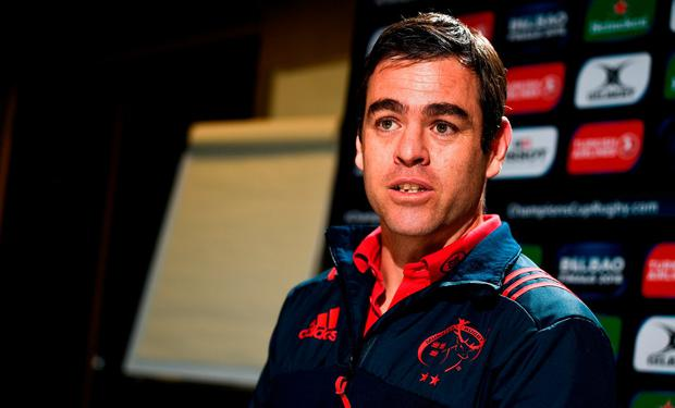 Head coach Johann van Graan during a Munster Rugby press conference at the University of Limerick in Limerick. Photo by Diarmuid Greene/Sportsfile