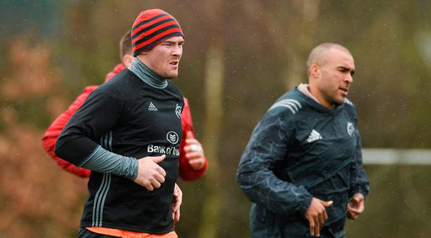 Peter O'Mahony and Simon Zebo going through their paces at Munster training. Photo: Diarmuid Greene/Sportsfile