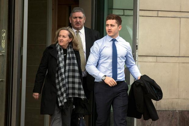 Ireland and Ulster rugby player Paddy Jackson leaving Belfast Crown Court. Photo: Mark Condren
