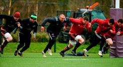 Peter O'Mahony, Dave Kilcoyne, Simon Zebo, CJ Stander, Conor Murray, and Mike Sherry in training at UL yesterday. Photo: Diarmuid Greene/Sportsfile