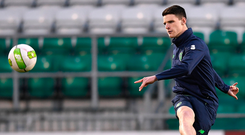 Declan Rice during training in Tallaght last night. Photo: Sportsfile