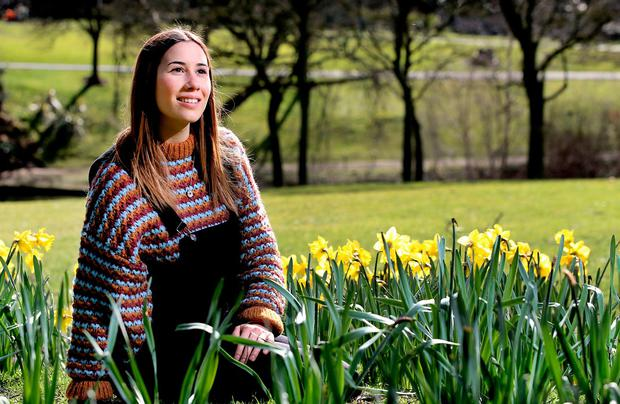 Leyre Segura from La Rioja in Spain, who is an au pair in Foxrock, enjoys the spring weather in the Phoenix Park. Photo: Steve Humphreys